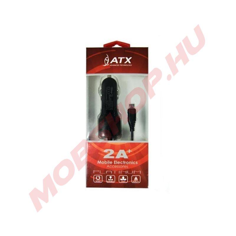 ATX autós töltő Micro USB csatlakozással, +USB port 2A, Fekete - mobshop.hu