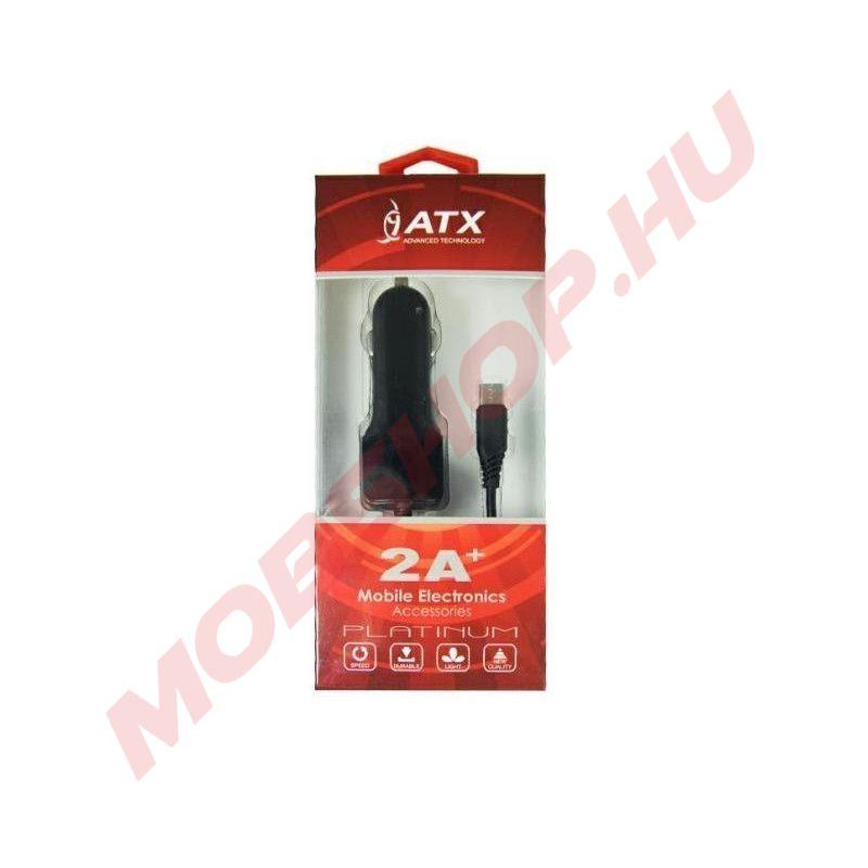 ATX autós töltő Type-C csatlakozással, +USB port 2A, Fekete - mobshop.hu