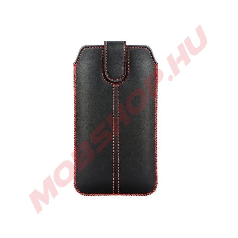 Bújtatós slim tok piros varrással (SAM Note 8 / Note 9 / Note 10+ méret), FEKETE - mobshop.hu
