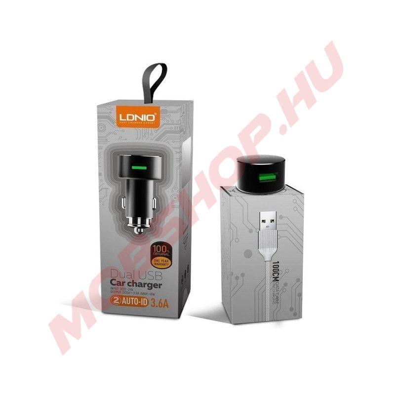 LDNIO autós töltő dupla USB aljzattal, gyorstöltő funkcióval, Lightning kábel, 3.6A, FEKETE - mobshop.hu