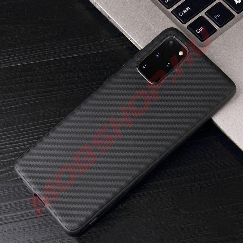 Samsung Galaxy S20 karbon (carbon) mintás szilikon tok, Fekete - mobshop.hu