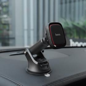 HOCO PRÉMIUM CA42 Cool Journey autós tartó mágneses, fekete-piros tapadókoronggal - mobshop.hu