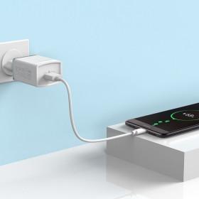 HOCO C42A hálózati töltő USB aljzat (5V / 2000mA, 18W, PD gyorstöltés támogatás), FEHÉR - mobshop.hu