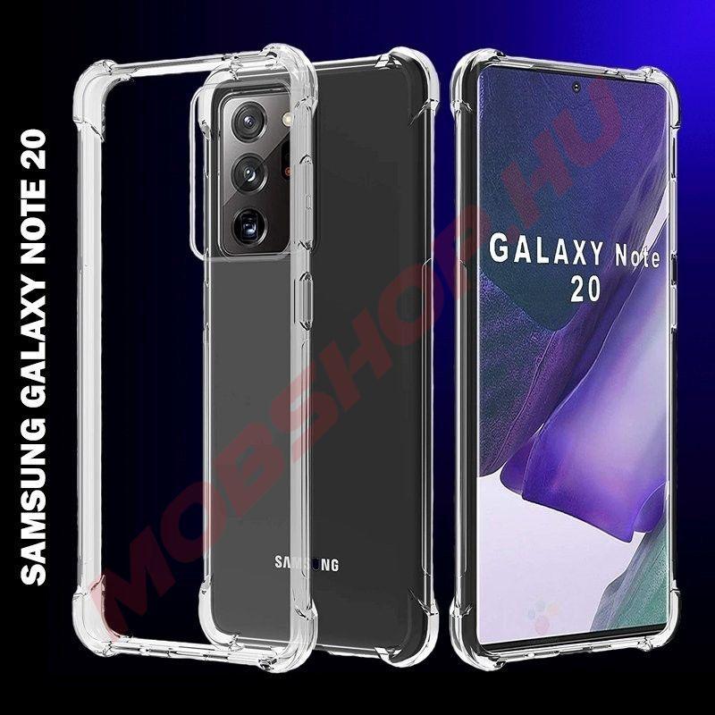 Samsung Galaxy NOTE 20 prémium  szilikon / akril telefontok, közepesen ütésálló, ÁTLÁTSZÓ - mobshop.hu