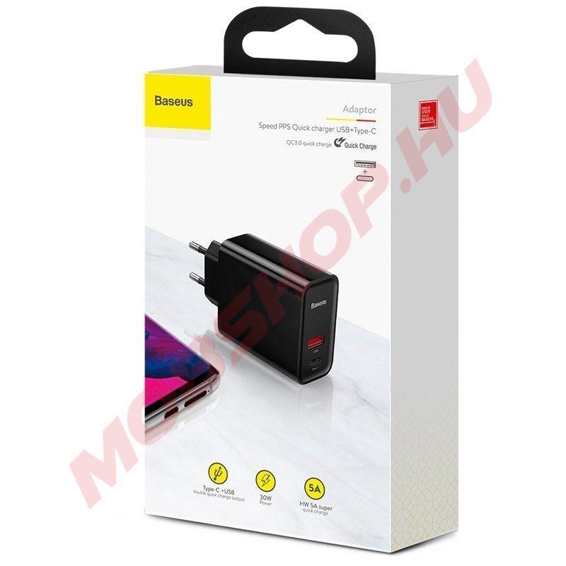 Baseus Speed PPS QC3.0 USB Type-C hálózati gyorstöltő adapter (CCFS-C02), FEKETE - mobshop.hu