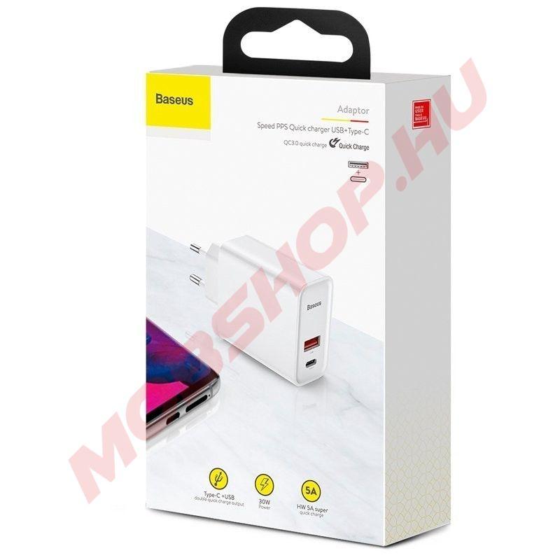 Baseus Speed PPS QC3.0 USB Type-C hálózati gyorstöltő adapter (CCFS-C02), FEHÉR - mobshop.hu