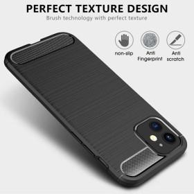 iPhone 12 mini karbon (carbon) mintás szilikon tok, FEKETE - mobshop.hu