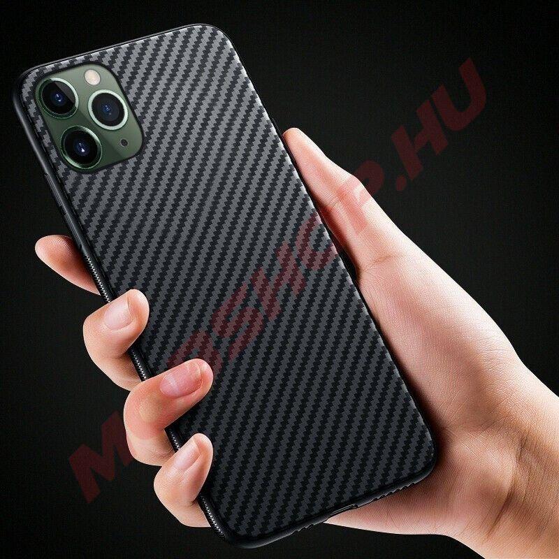 iPhone 11 Pro karbon (carbon) mintás szilikon tok, Fekete - mobshop.hu
