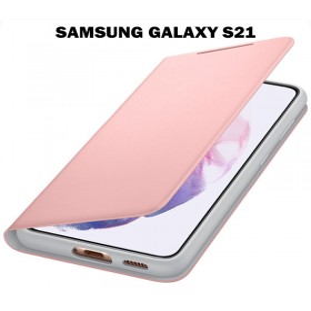 Samsung Galaxy S21 Smart LED view cover gyári tok, Pink - mobshop.hu