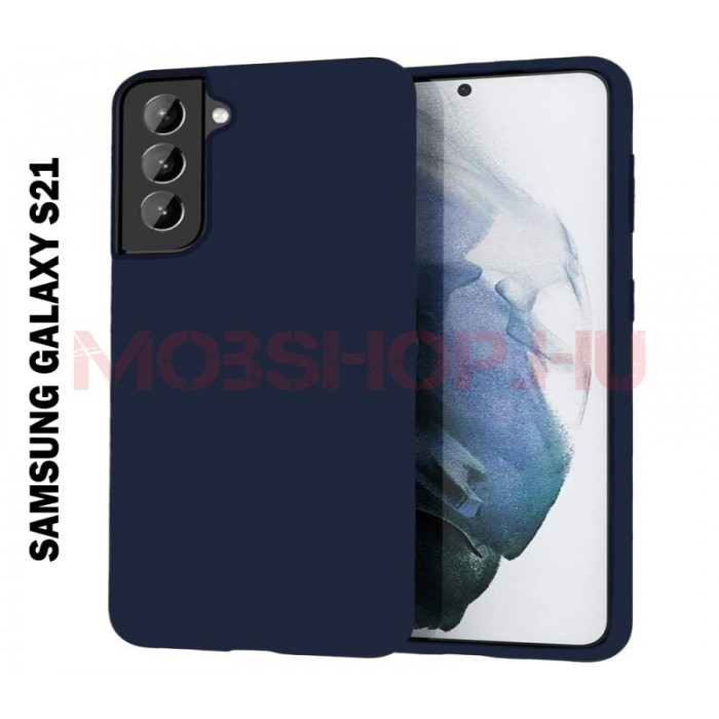 Samsung Galaxy S21 szilikon tok, SÖTÉTKÉK - mobshop.hu