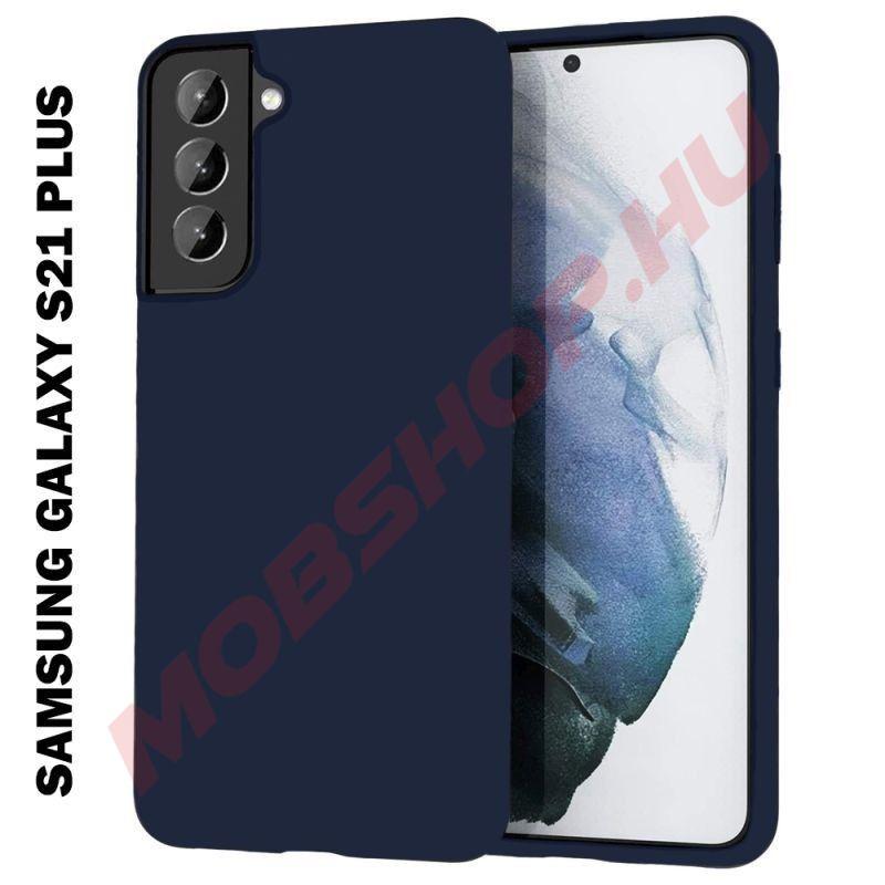 Samsung Galaxy S21 Plus szilikon tok, SÖTÉTKÉK - mobshop.hu