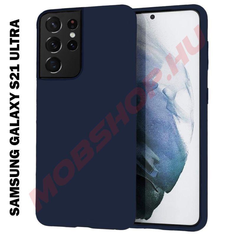 Samsung Galaxy S21 Ultra szilikon tok, SÖTÉTKÉK - mobshop.hu