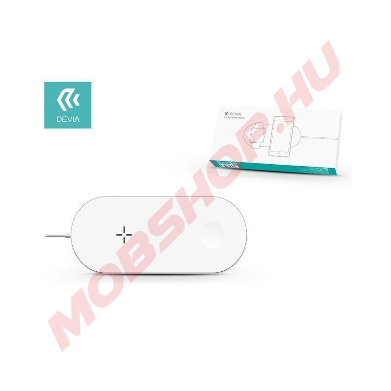 Devia 2 az 1-ben vezeték nélküli gyorstöltő okostelefonhoz és Apple Watchhoz 12W, Fehér - mobshop.hu
