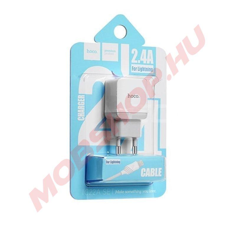 HOCO C22A hálózati töltő USB aljzat (5V / 2,4A, Lightning kábel) FEHÉR - mobshop.hu