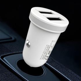 XO autós töltő fehér 2db USB ajzat + Lightning kábel 2,1A, Fehér - mobshop.hu