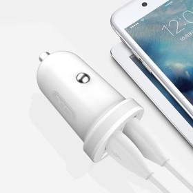 XO autós töltő fehér 2db USB ajzat + micro usb kábel 2,1A, Fehér - mobshop.hu