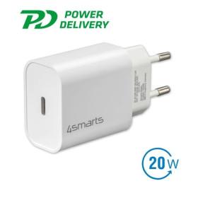 4smarts VoltPlug PD hálózati gyorstöltő adapter, Type-C, 20W, fehér - mobshop.hu