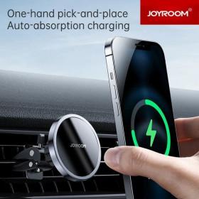 JOYROOM JR-ZS240 Magnetic Air Out 15W vezeték nélküli autós töltő és Mágneses Tartó - Fekete - mobshop.hu