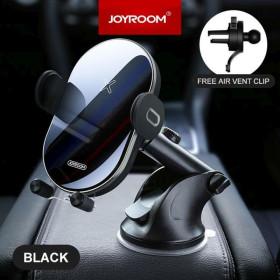 JOYROOM JR-ZS200 Hornet 2in1 15W vezeték nélküli autós töltő és tartó - Fekete - mobshop.hu