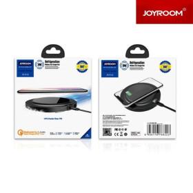 JOYROOM JR-A16 Cooler QC 3.0 18W Töltőfej + Wireless Charger Asztali Töltő - Fekete - mobshop.hu