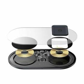 BASEUS 2in1 Wireless Charger TURBO EDITION okostelefon / Apple Airpods töltő 2x10W FEKETE - mobshop.hu