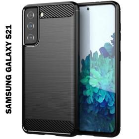 Samsung Galaxy S21 karbon (carbon) mintás szilikon tok, fekete - mobshop.hu