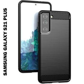Samsung Galaxy S21 PLUS karbon (carbon) mintás szilikon tok, fekete - mobshop.hu