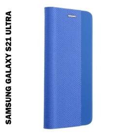 Samsung Galaxy S21 ULTRA oldalra nyíló shelter flip tok, kék - mobshop.hu