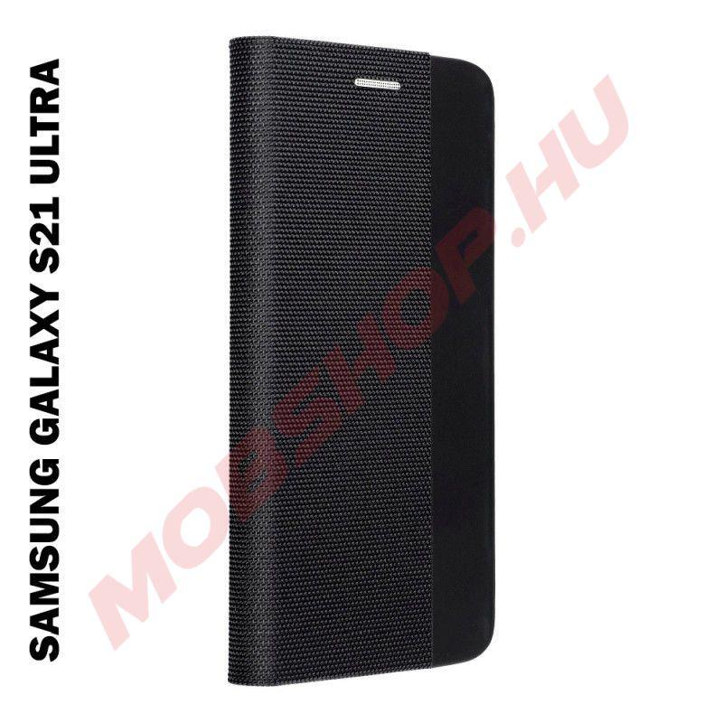 Samsung Galaxy S21 ULTRA oldalra nyíló shelter flip tok, fekete - mobshop.hu