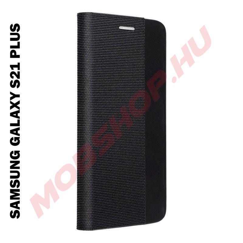Samsung Galaxy S21 PLUS oldalra nyíló shelter flip tok, fekete - mobshop.hu