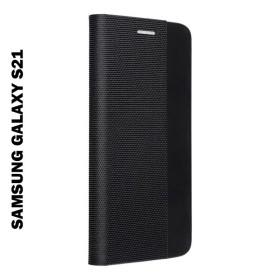 Samsung Galaxy S21 oldalra nyíló shelter flip tok, fekete - mobshop.hu