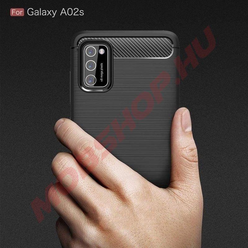 Samsung Galaxy A02S karbon (carbon) mintás szilikon tok, fekete - mobshop.hu