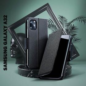 Samsung Galaxy A32 5G oldalra nyíló flip tok, fekete - mobshop.hu
