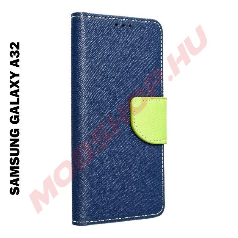 Samsung Galaxy A32 5G oldalra nyíló flip tok, kék / lime - mobshop.hu