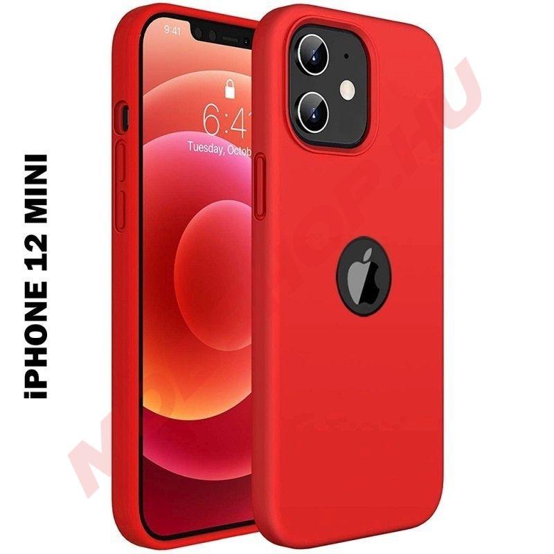 iPhone 12 MINI prémium szilikon tok, piros - mobshop.hu
