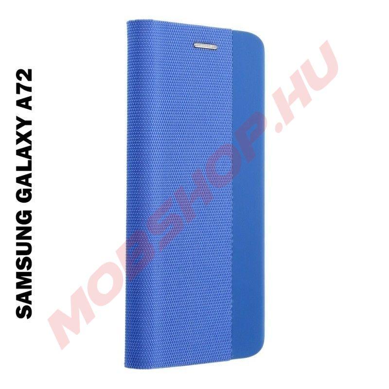 Samsung Galaxy A72 5G oldalra nyíló shelter flip tok, kék - mobshop.hu