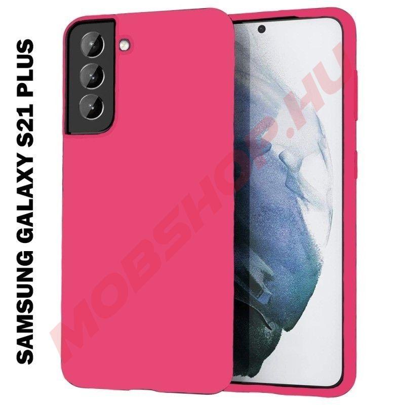 Samsung Galaxy S21 Plus szilikon tok, pink - mobshop.hu