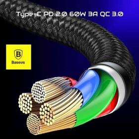 Baseus Type-C Cafule PD 2.0 60W Gyors töltő kábel, (20V 3A) 1m, SZÜRKE/FEKETE - mobshop.hu
