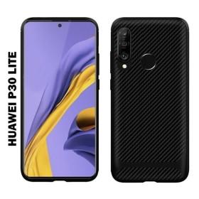 Huawei P30 Lite karbon Protect (carbon) mintás szilikon tok, FEKETE - mobshop.hu