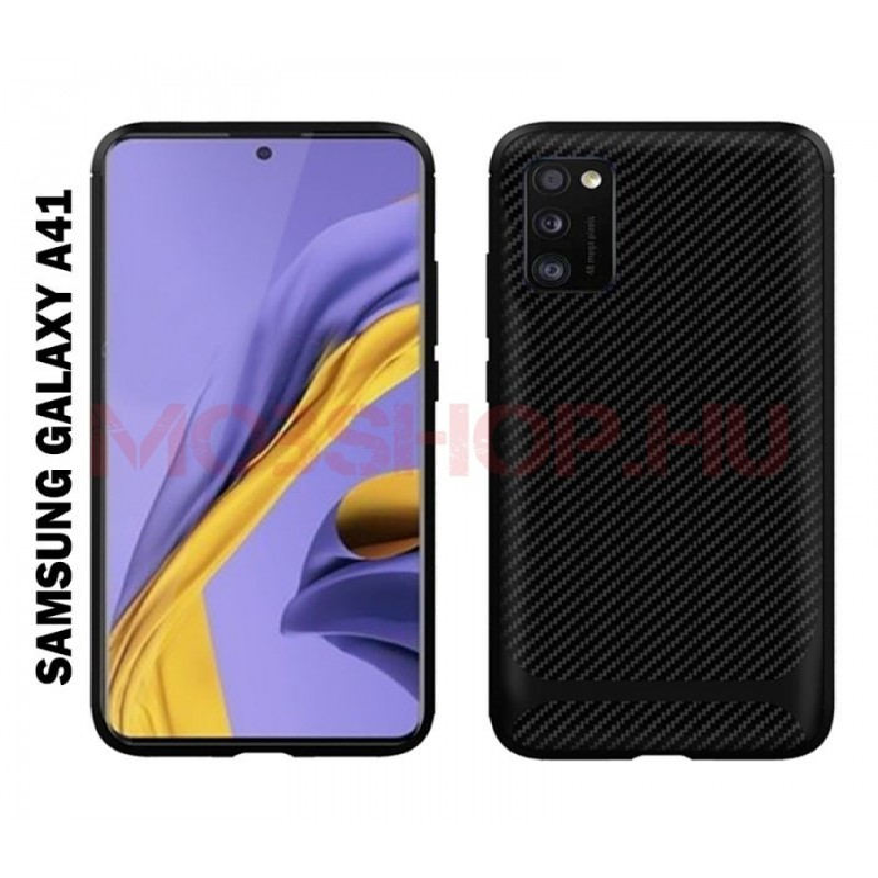 Samsung Galaxy A41 karbon Protect (carbon) mintás szilikon tok, FEKETE - mobshop.hu