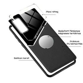 Samsung Galaxy A12 bőrbevonatú hibrid tok, mágneses tartókhoz előkészítve, fekete - mobshop.hu
