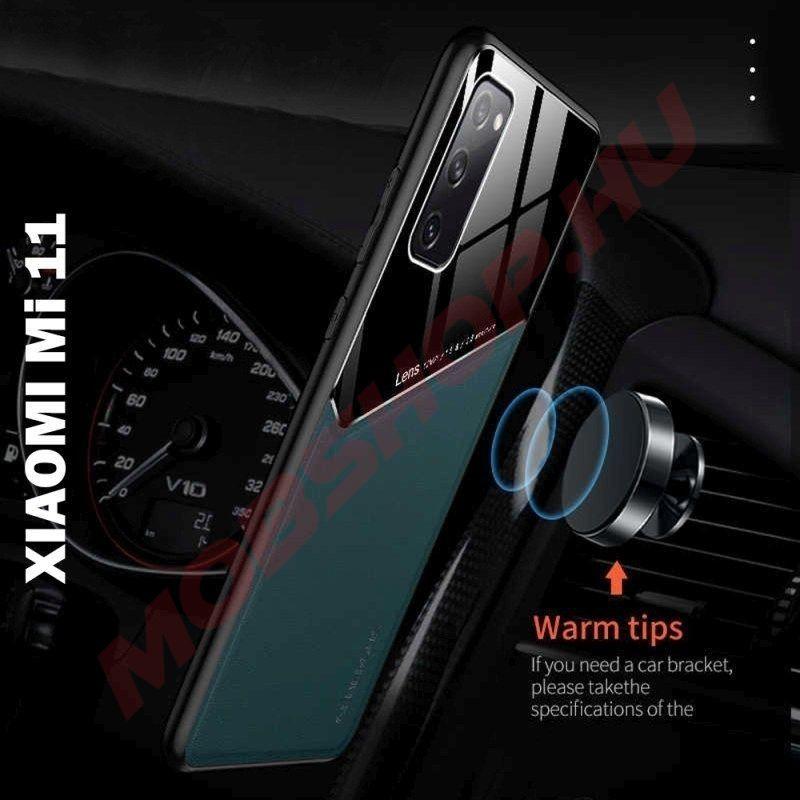 Xiaomi 11 bőrbevonatú hibrid tok, mágneses tartókhoz előkészítve, fekete - mobshop.hu