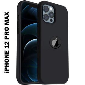 iPhone 12 PRO MAX prémium szilikon tok, fekete - mobshop.hu