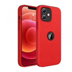 iPhone 12 / 12 PRO prémium szilikon tok, piros - mobshop.hu