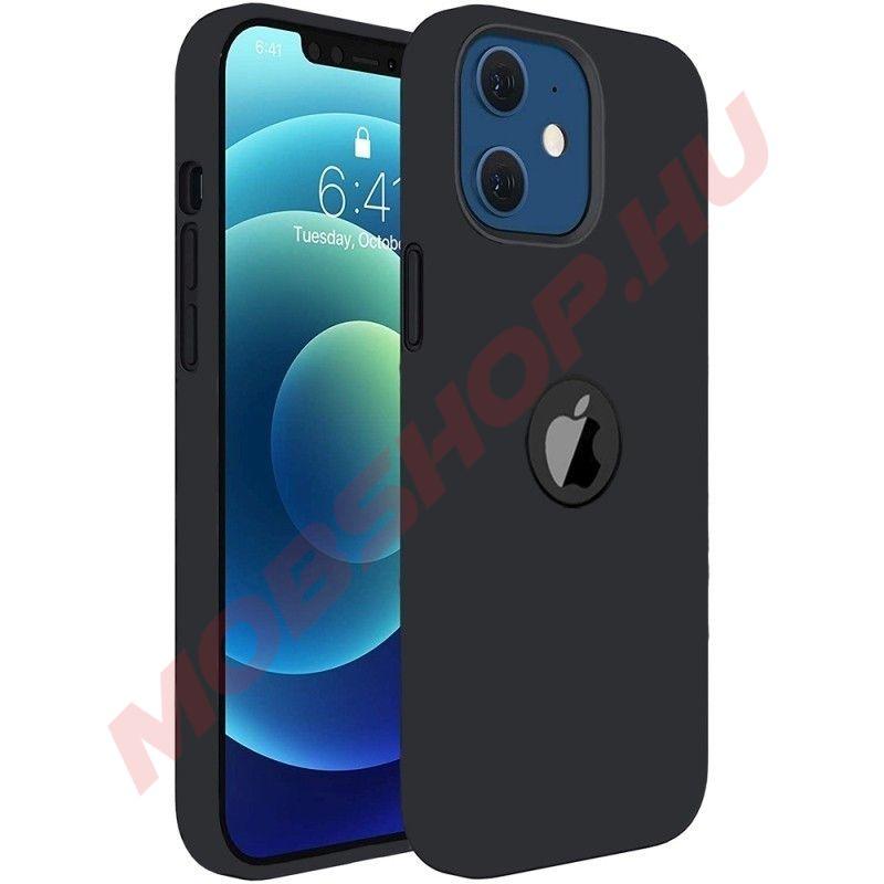 iPhone 12 / 12 PRO prémium szilikon tok, fekete - mobshop.hu