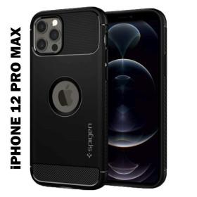 iPhone 12 PRO MAX SPIGEN RUUGED AMOR szilikon telefontok, FEKETE - mobshop.hu