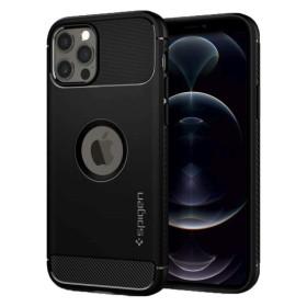 iPhone 12 / 12 PRO SPIGEN RUGGED AMOR szilikon tok, FEKETE - mobshop.hu