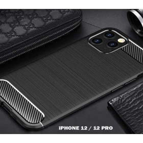 iPhone 12 / 12 PRO karbon (carbon) mintás szilikon tok, FEKETE - mobshop.hu