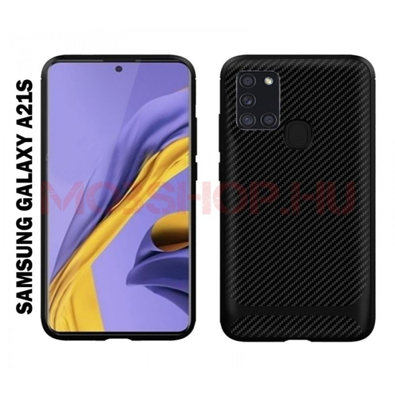 Samsung Galaxy A21s karbon Protect (carbon) mintás szilikon tok, FEKETE - mobshop.hu