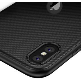 iPhone X / XS karbon (carbon) mintás szilikon tok, Fekete - mobshop.hu